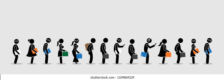 Job seekers or office workers and employee queuing up in a line. Vector artwork depicts the concept of job interview and office lifestyle.