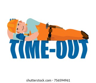 Job Time out. Builder sleeping isolated. Break in working time. Worker in protective helmet asleep. Vector illustration.