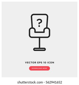 Job vacancy vector icon, office chair symbol. Modern, simple flat vector illustration for web site or mobile app