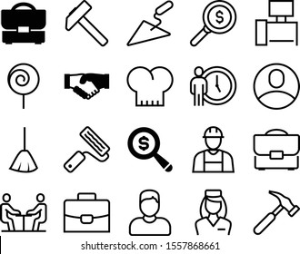 job vector icon set such as: cane, chair, dessert, sweep, roll, furniture, analytics, diplomat, doctor, holiday, conference, female, business meeting, logo, consultant, spatula, job interview