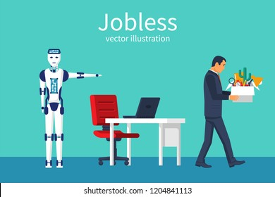 Jobless concept. Robot came to replace man. Competition for workplace. Versus strong robot with man. High productivity of modern technology. Vector illustration flat design. Isolated on background.