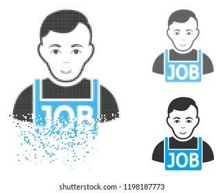 Jobless icon with face in dissolving, dotted halftone and undamaged whole versions. Fragments are organized into vector dissolving jobless icon. Disappearing effect involves small fragments.