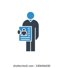 jobless man and job application icon