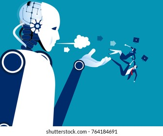 Jobless. Robot instead of humans. Concept business technology vector illustration.