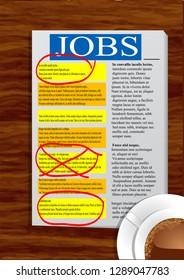 Jobs newspaper on the wood table. 10 EPS