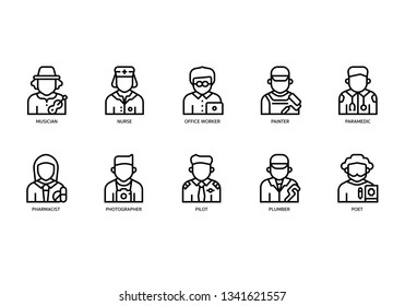 Jobs and occupations icons set
