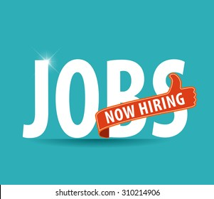 jobs opening now Hiring blue thumbs up advertising job offer and sign with the words Now Hiring isolated, Now Hiring Sign on bright background