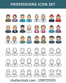 Jobs, professions and occupations icons set - Outline - Vector