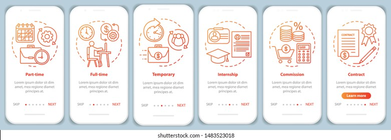 Jobs types orange onboarding mobile app page screen vector template. Full-time, temporary, internship. Walkthrough website steps with linear illustrations. UX, UI, GUI smartphone interface concept