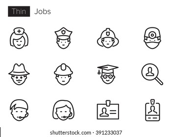 Jobs Vector icons set Thin line outline