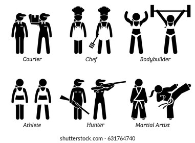 Jobs, Works and Occupations for Women. Artworks depict lady courier worker, female chef, woman hunter, female athlete, bodybuilder, and girl martial artist.
