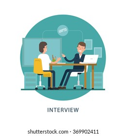 Jobseeker and employer sit at the table and talk. Good impression. Adopted. Vector scene in the circle on white background. Simple concept with working situation in flat style. Hiring. Recruitment.