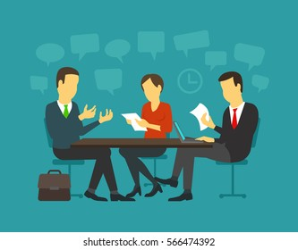 Jobseeker and employer talk interviewing. Simple concept with working candidate sit at the table situation.