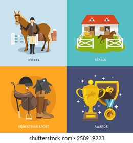 Jockey design concept set with stable equestrian sport awards flat icons isolated vector illustration