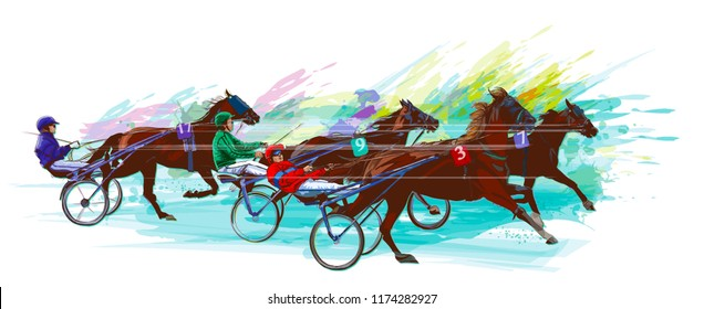 Jockey and horse.Sulky racing on grunge background - Vector illustration.