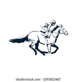 Jockey logo designs vector, Running Horse logo template, horse riding