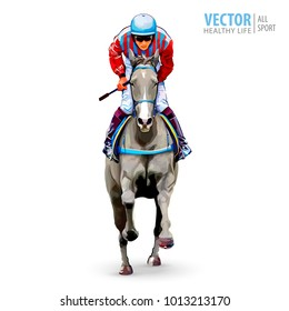 Jockey on horse. Champion. Horse racing. Hippodrome. Racetrack. Jump racetrack. Horse riding. Racing horse coming first to finish line.  Isolated on white background. Vector illustration