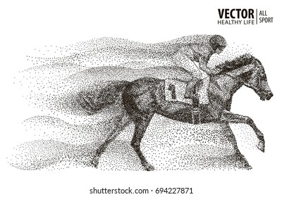 Jockey on horse. Champion. Horse racing. Hippodrome. Racetrack. Jump racetrack. Sport. Particle. Isolated on a white background. Vector illustration.