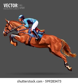 Jockey on horse. Champion. Horse riding. Equestrian sport. Jockey riding jumping horse. Poster. Sport background. Vector Illustration.