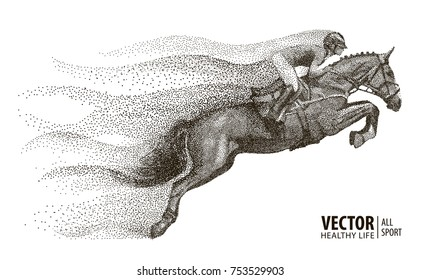 Jockey on horse. Champion. Horse riding. Equestrian sport. Jockey riding jumping horse. Poster. Sport background. Particle divergent composition. Vector Illustration.