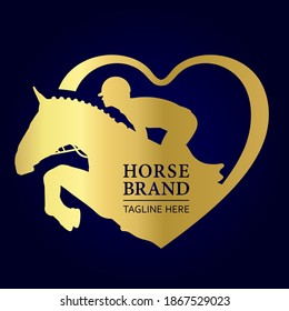 Jockey on horse. Logo.  Heart. Horse Jumping. Equestrian Events. Show Jumping Competition. Sport. Vector Illustration