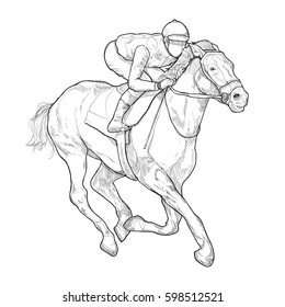 Jockey On Horse Racing Hand Drawn Vector