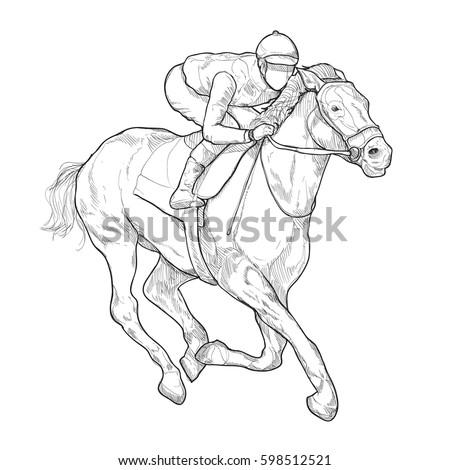 Jockey On Horse Horse Racing Hand Stock Vector Royalty Free
