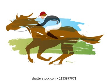 Jockey on horse,Horse racing.   Water color imitated Illustration of Jockey on horse at Full Speed.  Vector available.