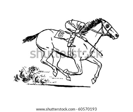 Jockey On Racehorse Retro Clip Art Stock Vector Royalty Free