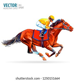 Jockey on racing horse. Champion. Racetrack. Jump racetrack. Horse riding. Vector illustration. Derby. Isolated on white background.