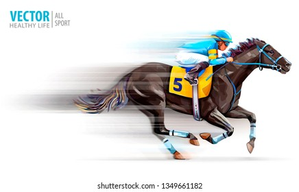 Jockey on racing horse. Champion. Hippodrome. Racetrack. Horse riding. Derby. Speed. Blurred movement. Isolated on white background. Vector illustration