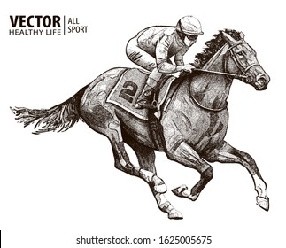 Jockey on racing horse. Derby. Vector illustration isolated on white background. Equestrian sport. Particle divergent composition