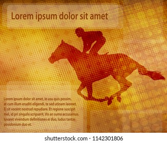jockey on racing horse over abstract background with space for text - vector