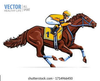 Jockey on racing horse. Sport. Champion. Hippodrome. Racetrack. Equestrian. Derby. Speed. Isolated on white background. Vector illustration