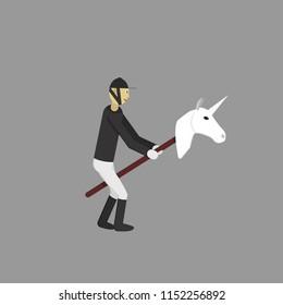 Jockey on the unicorn stick toy. Hobbyhorse toy. Vector illustration