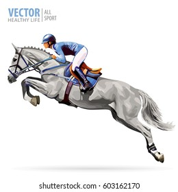 Jockey on white horse. Champion. Horse riding. Equestrian sport. Jockey riding jumping horse. Poster. Sport background. Isolated vector illustration.