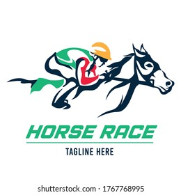 A jockey races his horse, suitable for logo of a racing club, stable and farm, as well as horse racing events