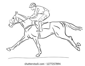 Jockey racing on a horse, vector sketch.