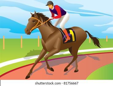 jockey ride with brown horse - vector illustration