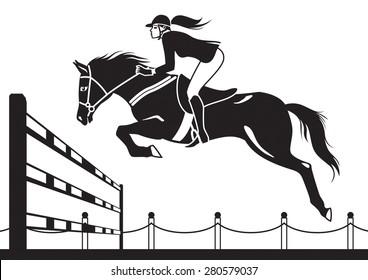 Jockey ride horse - vector illustration