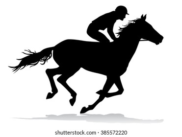 Jockey riding on horseback. Horse racing. Competition. Silhouette on a white background.