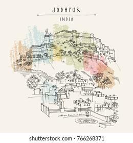 Jodhpur Blue City and Mehrangarh fort on a hill. Jodhpur, Rajasthan, India. Artistic travel sketch. Hand drawn postcard, poster, book illustration in vector