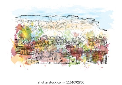 Jodhpur is a city of the northwest Indian state of Rajasthan. Its 15th-century Mehrangarh Fort is a former palace that is now a museum. Watercolor splash with Hand drawn sketch illustration in vector.