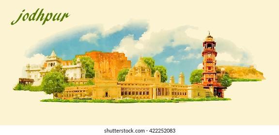 JODHPUR city panoramic vector water color illustration