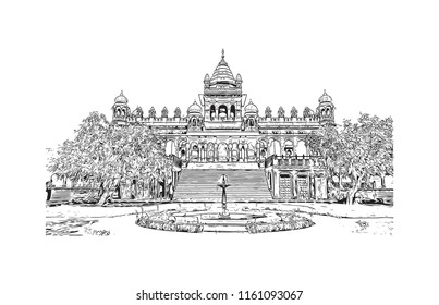 Jodhpur is a city in the Thar Desert of the northwest Indian state of Rajasthan. Its 15th-century Mehrangarh Fort is a former palace that is now a museum. Hand drawn sketch illustration in vector.