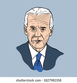 Joe Biden portrait. caricature. vector illustration. gray background