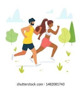 Jog, run, exercise in forest, woods flat vector illustration. Man and woman, couple, friends jogging together cartoon character design. Outdoor, outside workout. Fitness, strength training