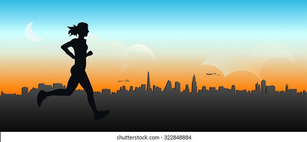 Jogger girl, running on the city background, vector illustration, isolated silhouette