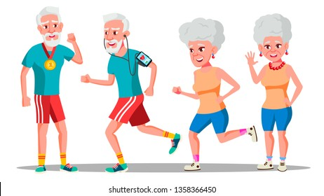 Jogger Old People Vector. Jogger Couple. Active Health Training. Illustration