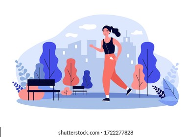 Jogger wearing headphones running down pathway outdoors. Woman training in city park in morning. Vector illustration for health, lifestyle, sport, activity concept